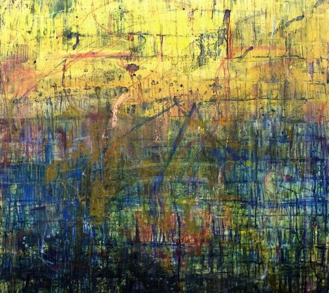 07 - Fleur Cowgill - Butrint. In Vitrio Adorno, 100x100cm, mixed media on canvas, 2019